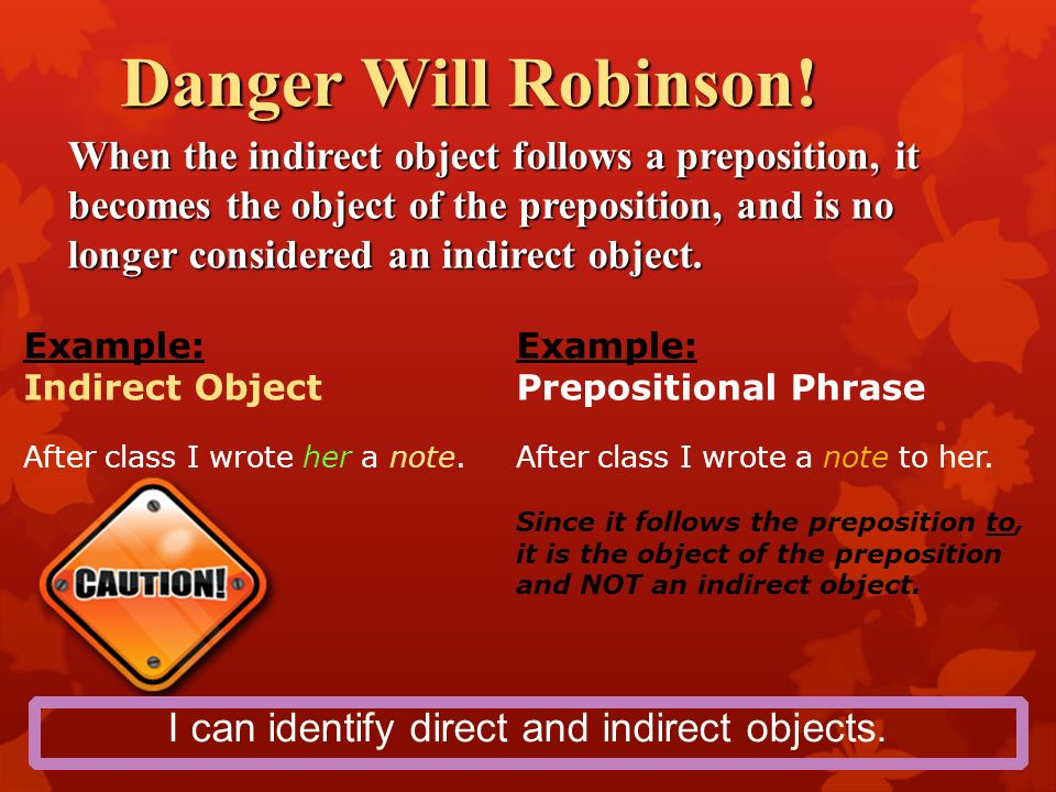 direct and indirect object examples pdf