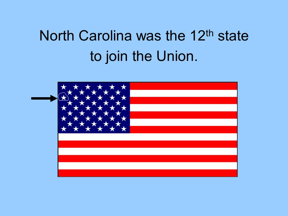 North Carolina was the 12th state to join the Union.