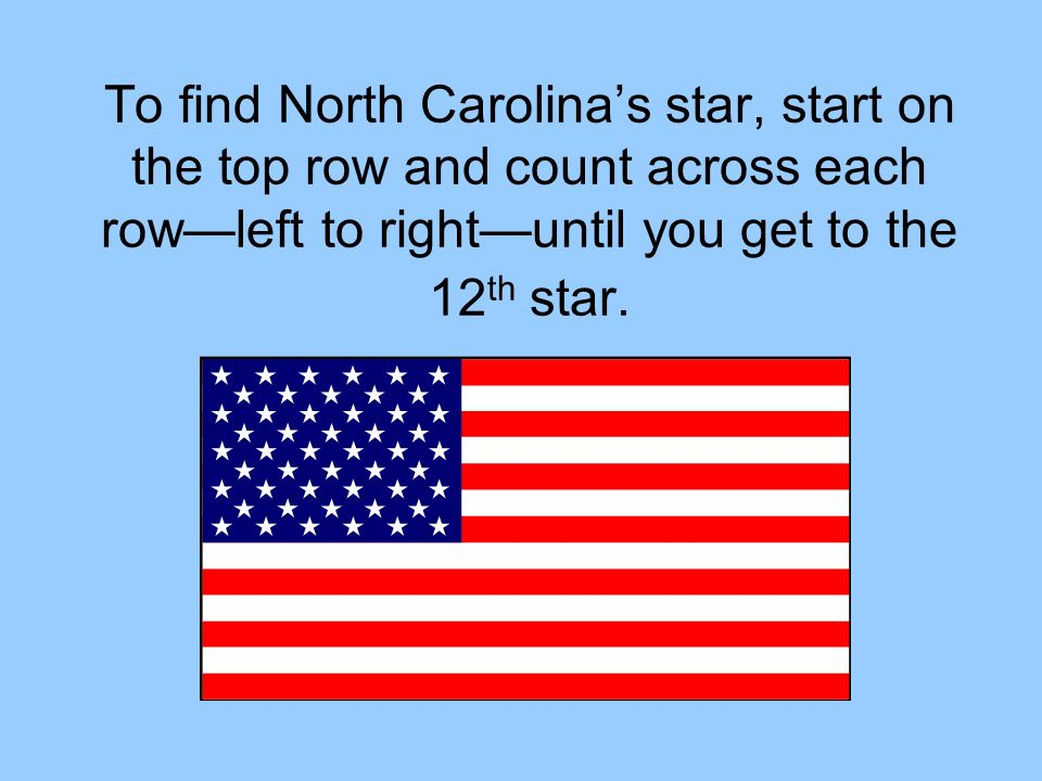 To find North Carolina's star, start on the top row and count across each row—left to right—until you get to the 12th star.