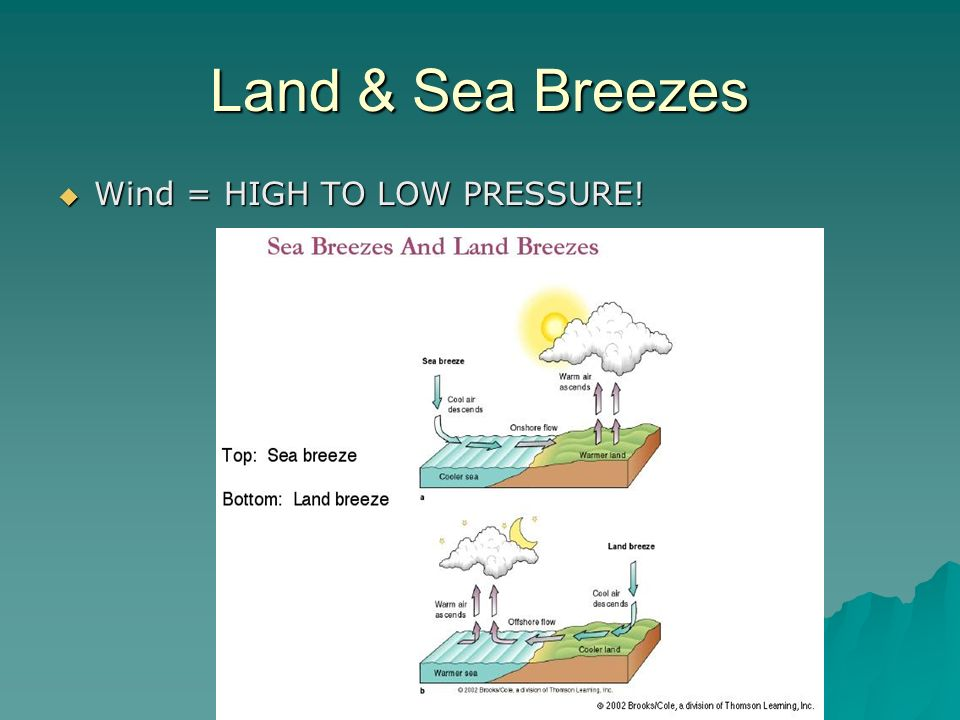 Land & Sea Breezes Wind = HIGH TO LOW PRESSURE!
