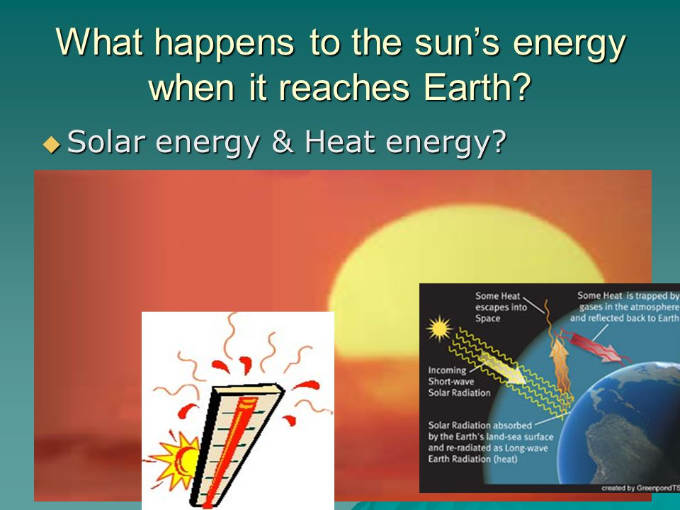 What happens to the sun's energy when it reaches Earth