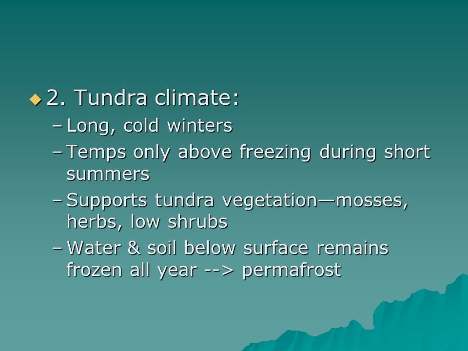 2. Tundra climate: Long, cold winters