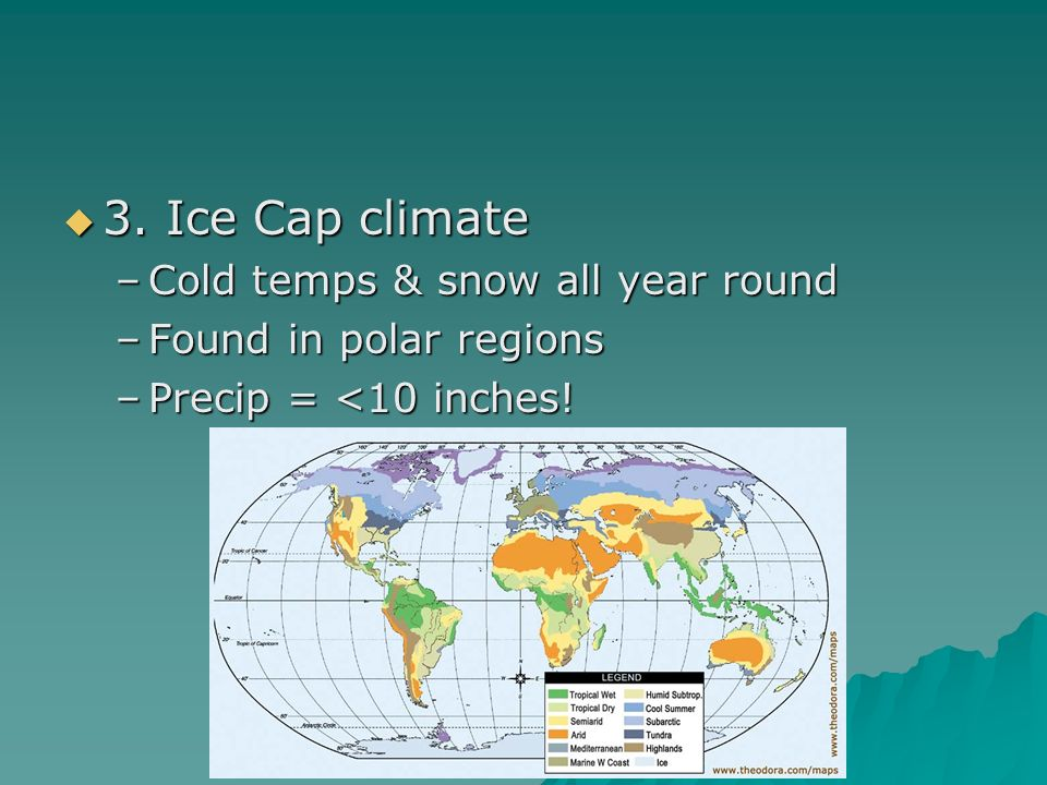 3. Ice Cap climate Cold temps & snow all year round