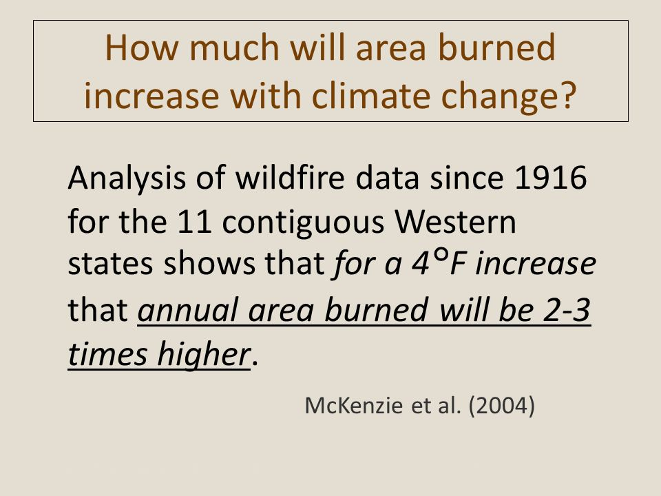 How much will area burned increase with climate change