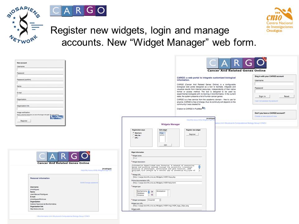 Register new widgets, login and manage accounts