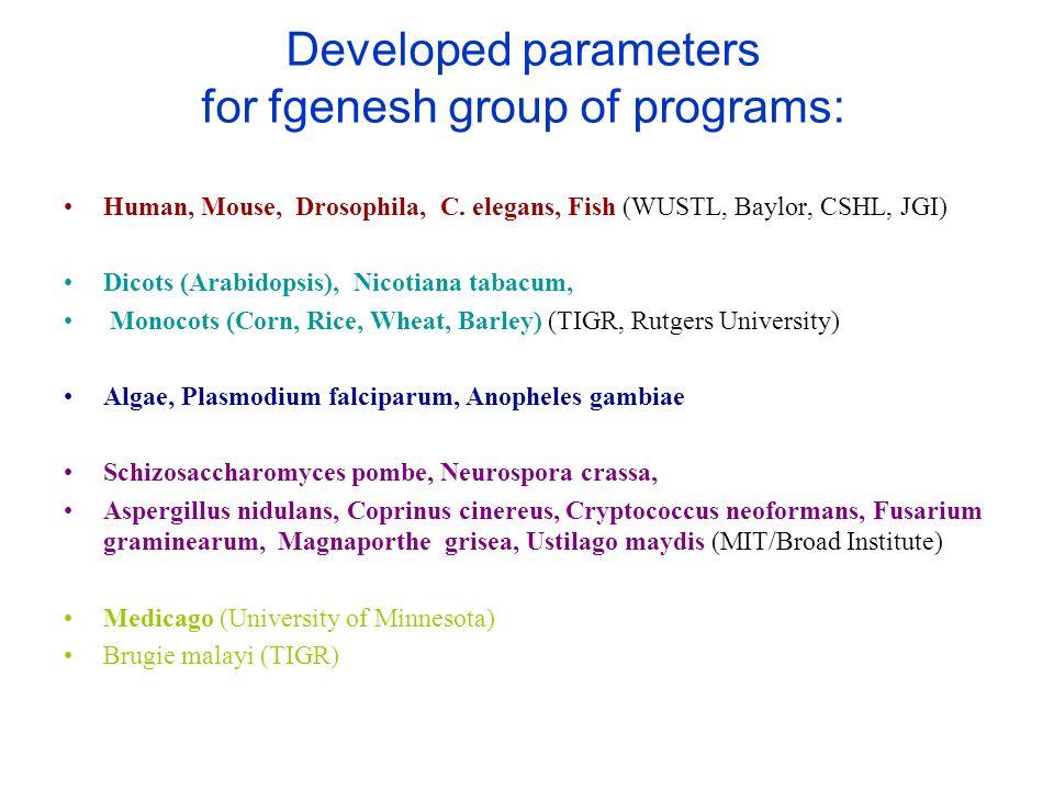 Developed parameters for fgenesh group of programs: