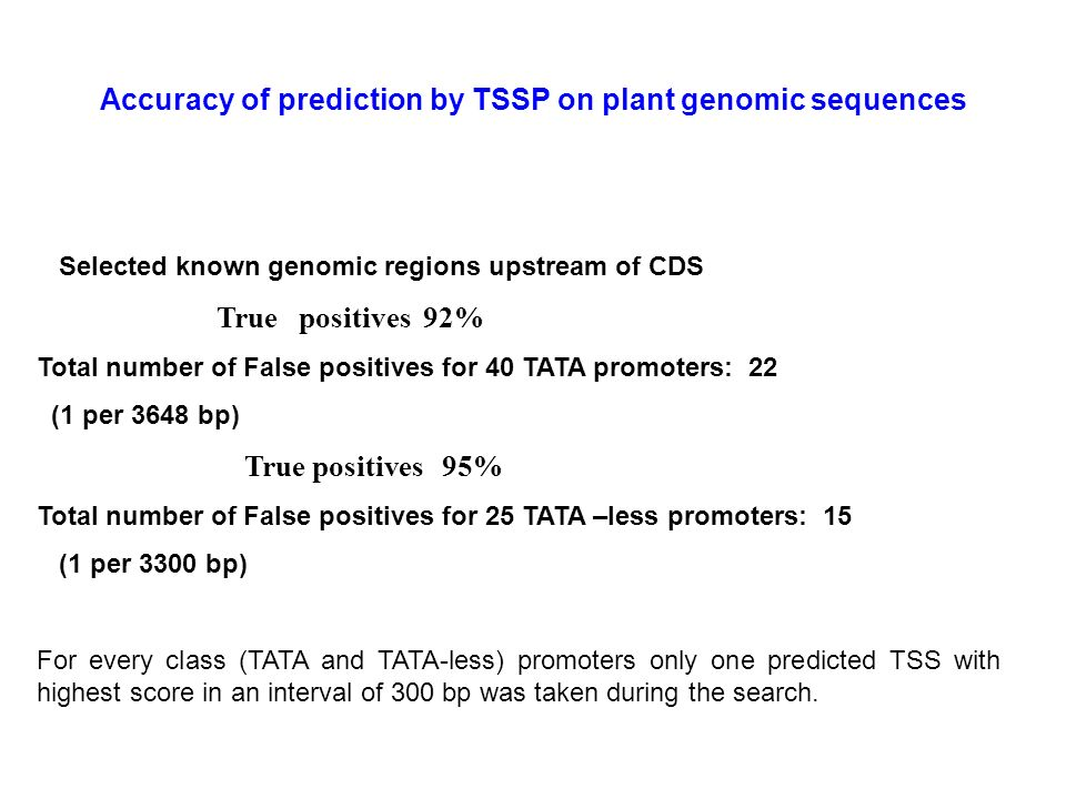 Accuracy of prediction by TSSP on plant genomic sequences