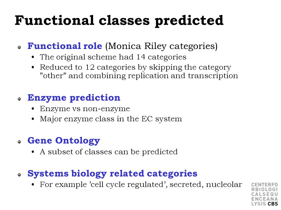 Functional classes predicted