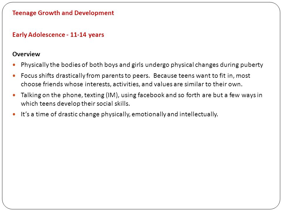 Teenage Growth and Development