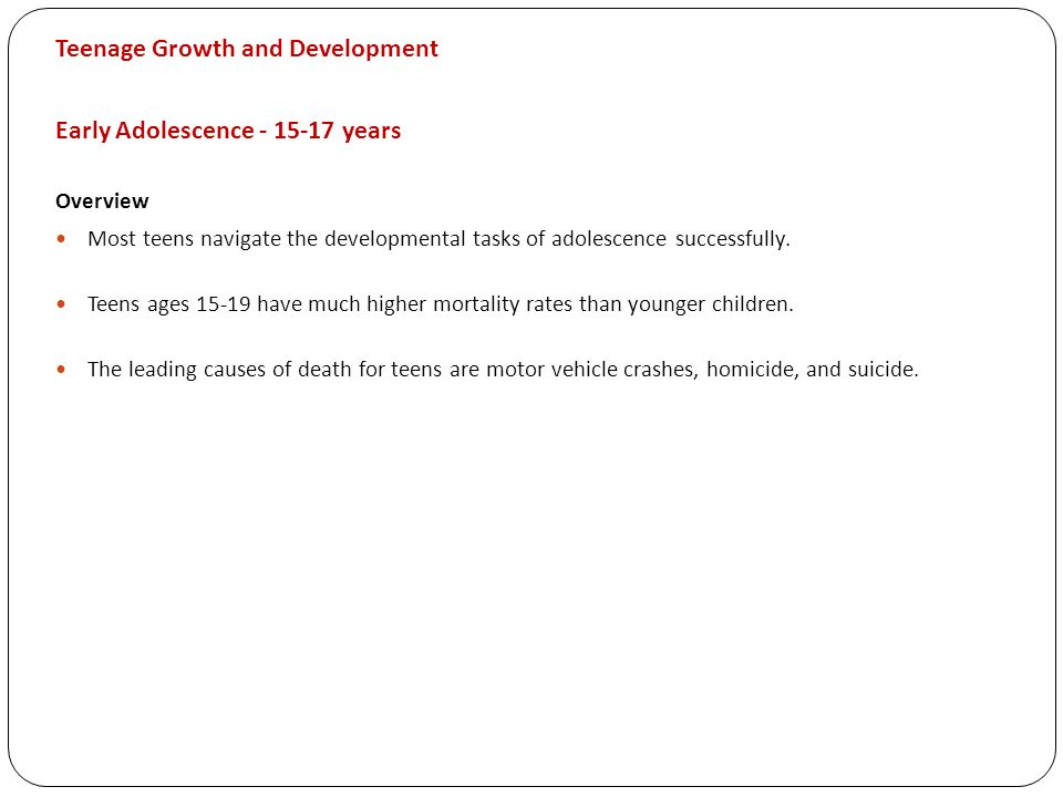 Teenage Growth and Development Early Adolescence years