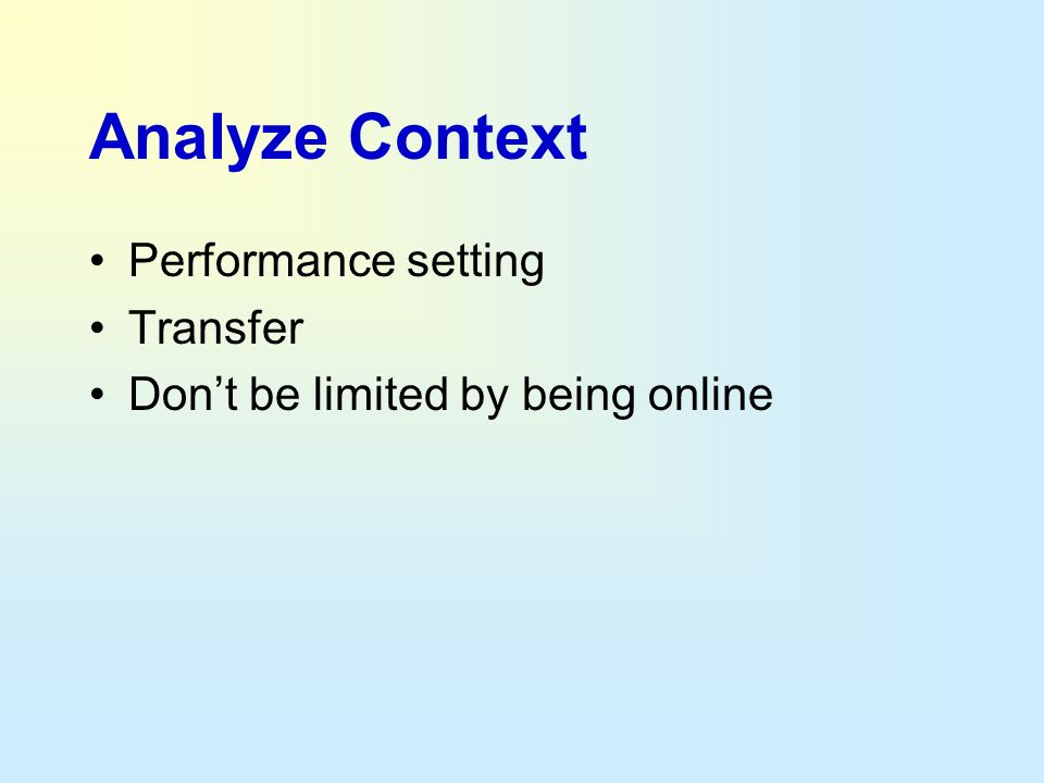 Analyze Context Performance setting Transfer