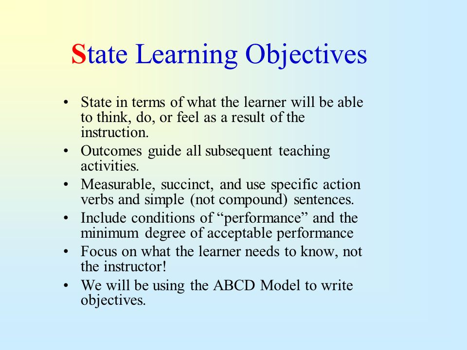 State Learning Objectives