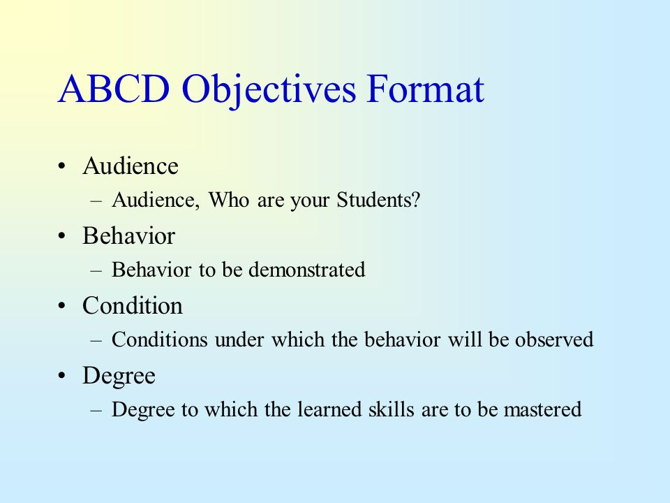 ABCD Objectives Format
