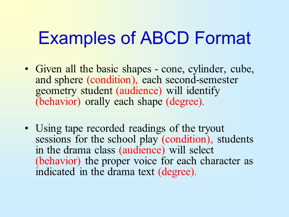 Examples of ABCD Format