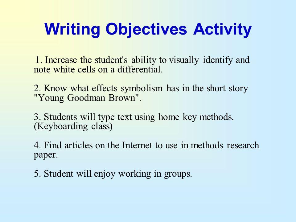 Writing Objectives Activity