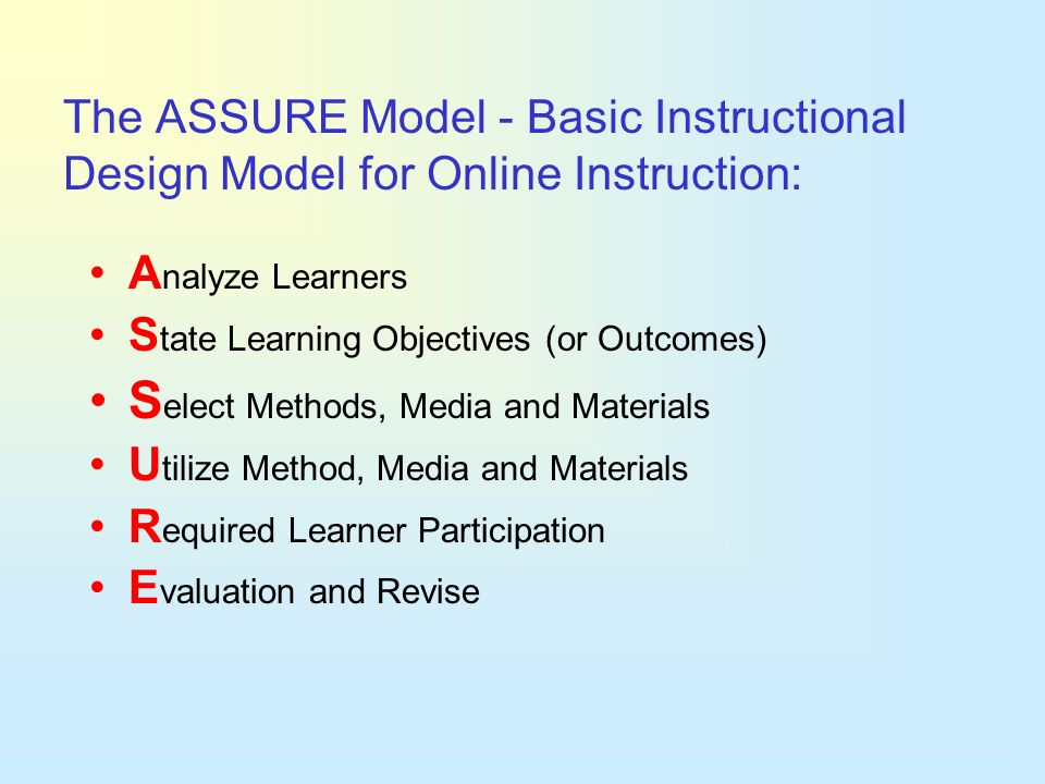 Select Methods, Media and Materials