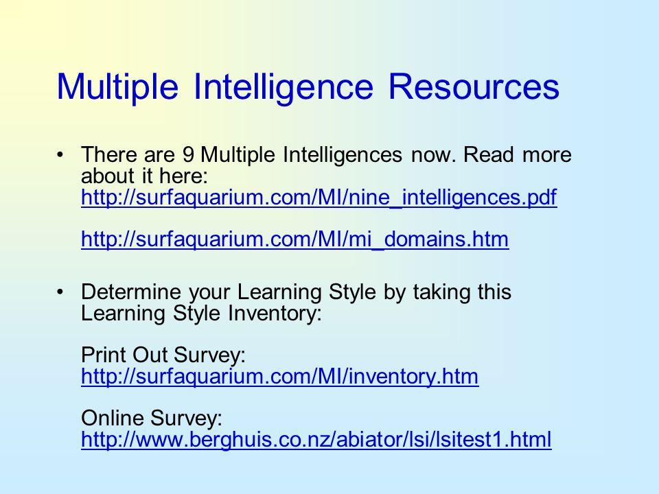 Multiple Intelligence Resources