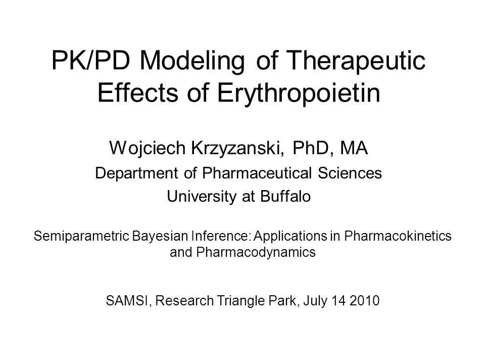 PK/PD Modeling of Therapeutic Effects of Erythropoietin