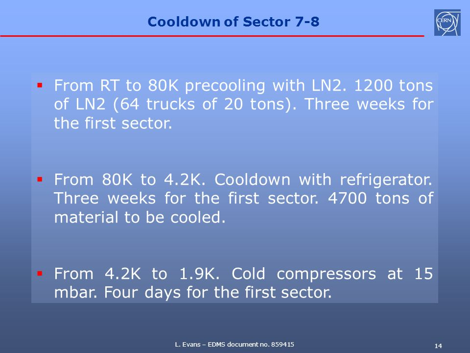 Cooldown of Sector 7-8 From RT to 80K precooling with LN2. 1200 tons of LN2 (64 trucks of 20 tons). Three weeks for the first sector.
