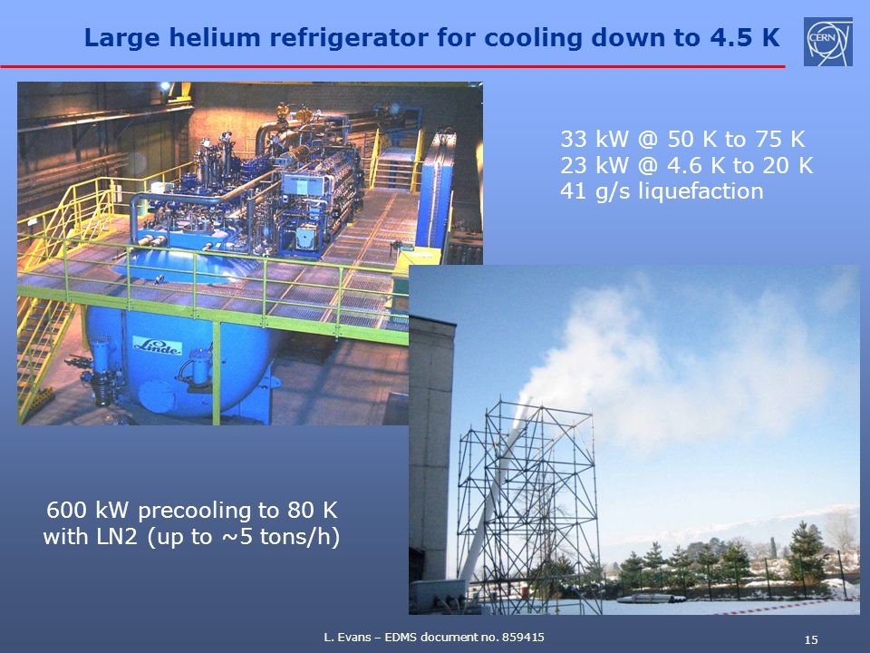 Large helium refrigerator for cooling down to 4.5 K