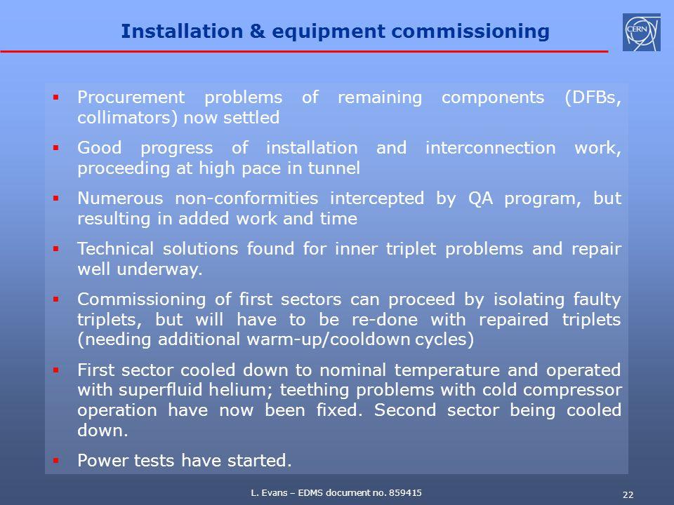 Installation & equipment commissioning