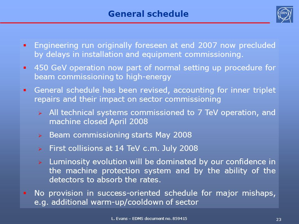 General schedule Engineering run originally foreseen at end 2007 now precluded by delays in installation and equipment commissioning.