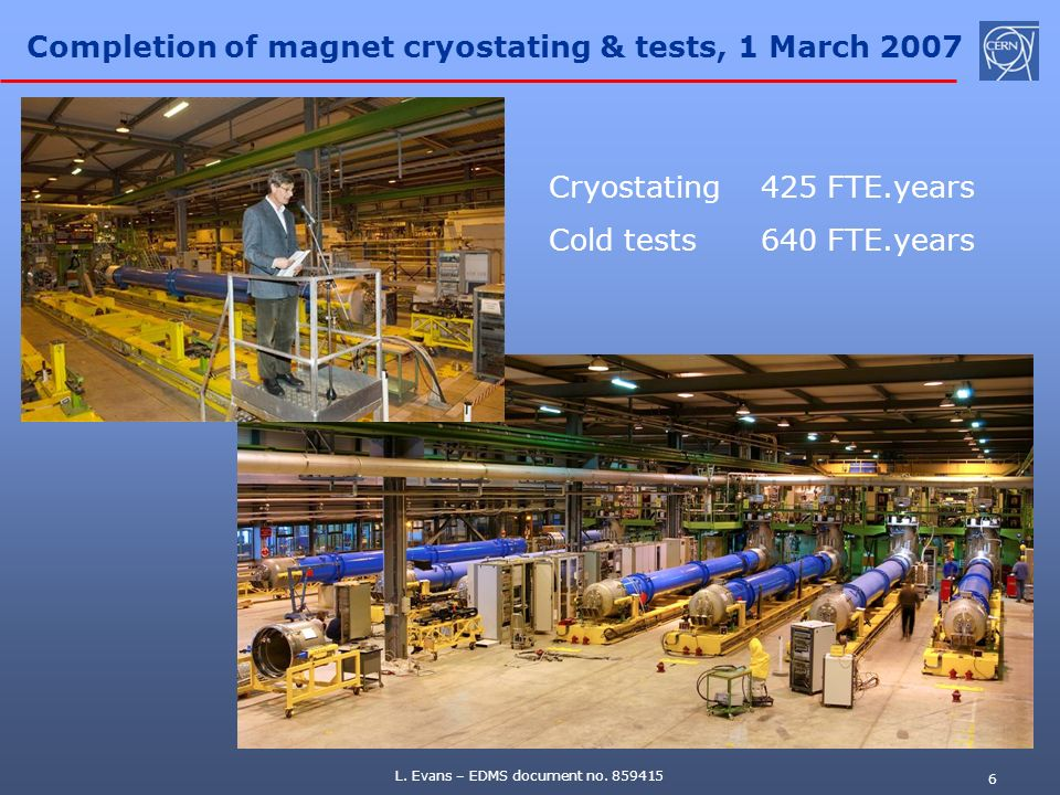 Completion of magnet cryostating & tests, 1 March 2007