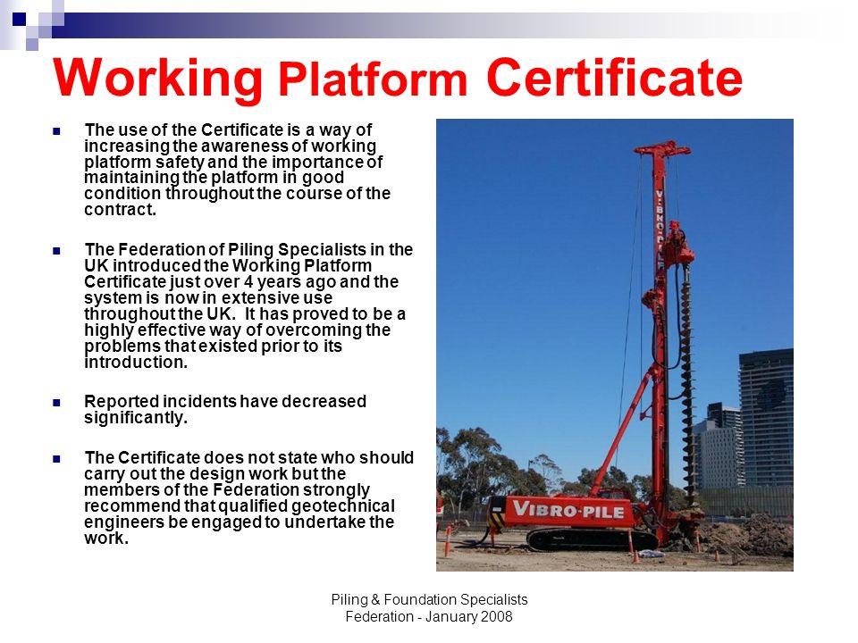 Working Platform Certificate
