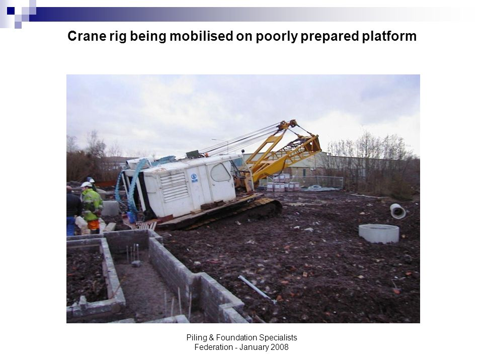 Crane rig being mobilised on poorly prepared platform