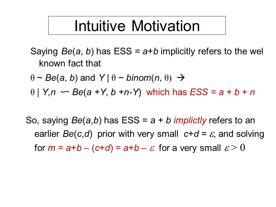 Intuitive Motivation Saying Be(a, b) has ESS = a+b implicitly refers to the wel known fact that. θ ~ Be(a, b) and Y | θ ~ binom(n, θ) 