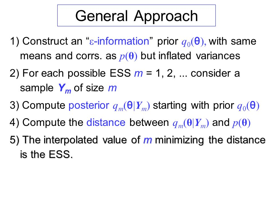 General Approach 1) Construct an e-information prior q0(θ), with same means and corrs. as p(θ) but inflated variances.