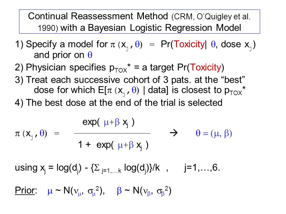 Continual Reassessment Method (CRM, O'Quigley et al