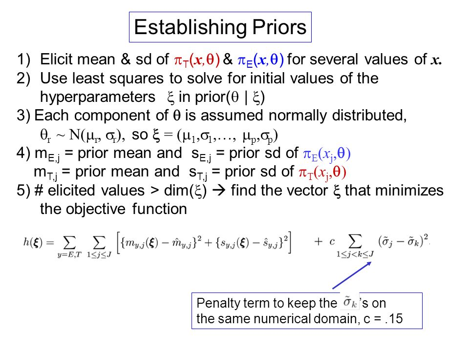 Establishing Priors Elicit mean & sd of pT(x,q) & pE(x,q) for several values of x.