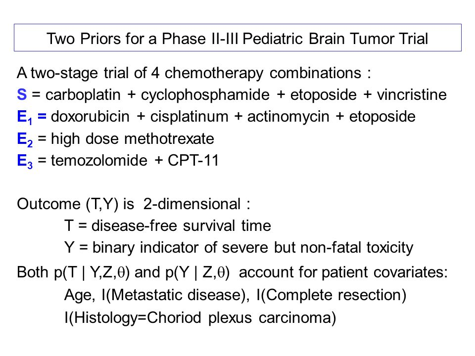 Two Priors for a Phase II-III Pediatric Brain Tumor Trial