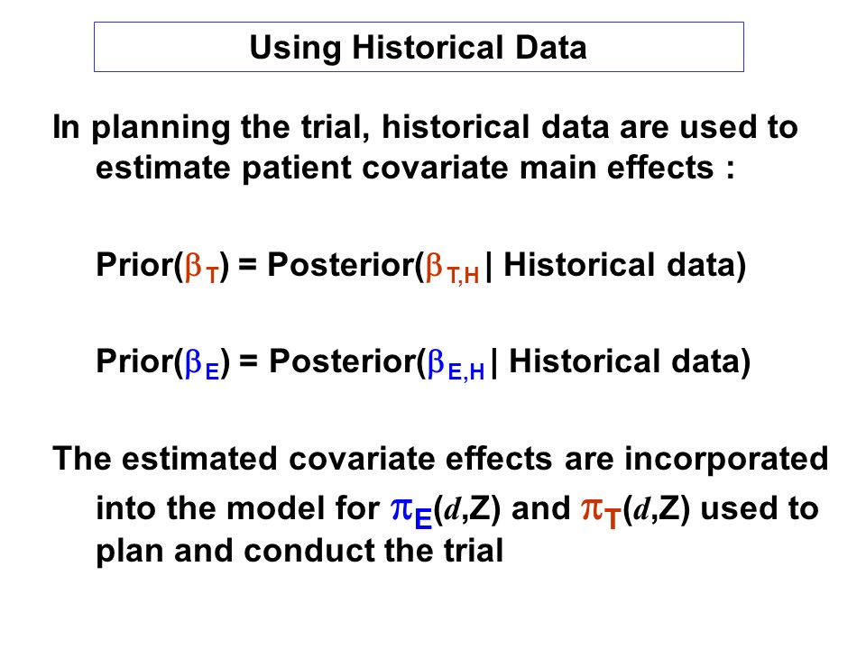 Using Historical Data In planning the trial, historical data are used to estimate patient covariate main effects :