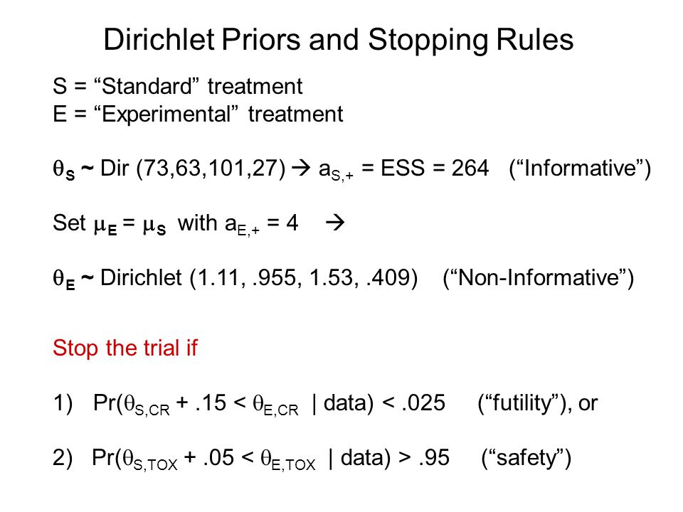 Dirichlet Priors and Stopping Rules