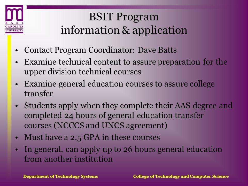 BSIT Program information & application
