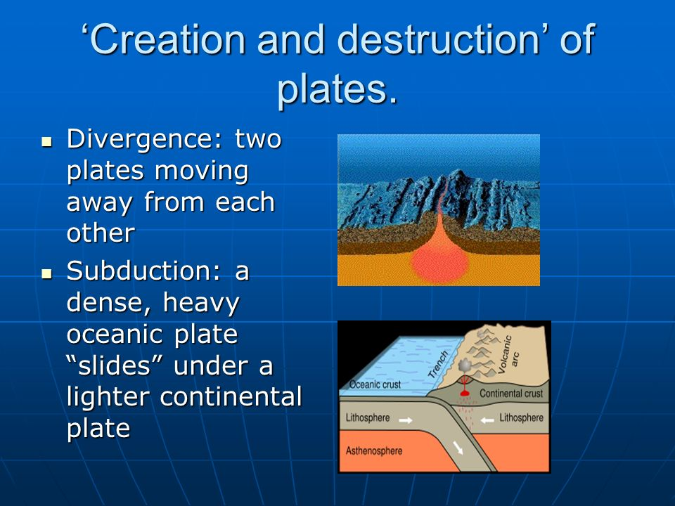 'Creation and destruction' of plates.