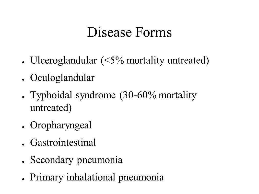 Disease Forms Ulceroglandular (<5% mortality untreated)