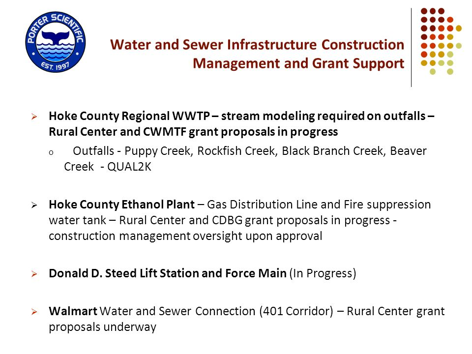 Water and Sewer Infrastructure Construction Management and Grant Support