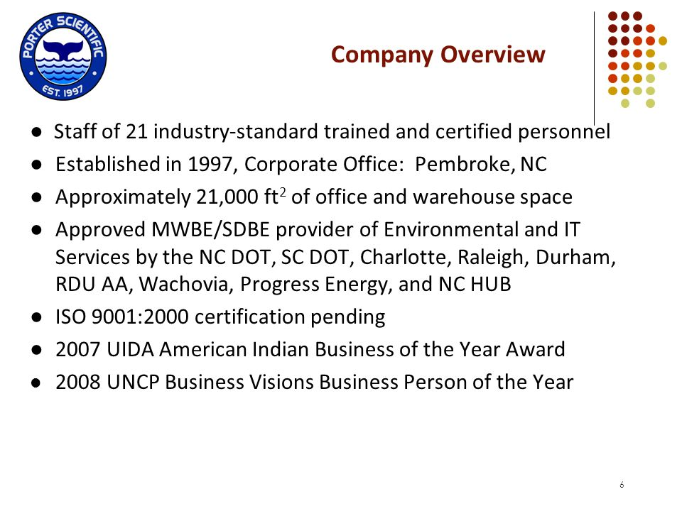 Company Overview ● Staff of 21 industry-standard trained and certified personnel. ● Established in 1997, Corporate Office: Pembroke, NC.
