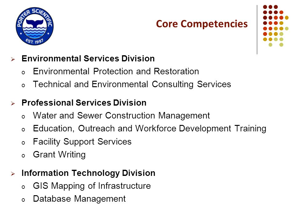 Core Competencies Environmental Protection and Restoration