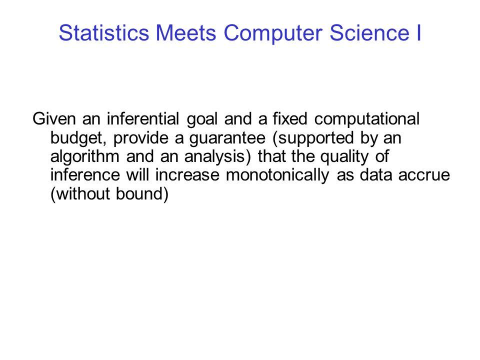 Statistics Meets Computer Science I