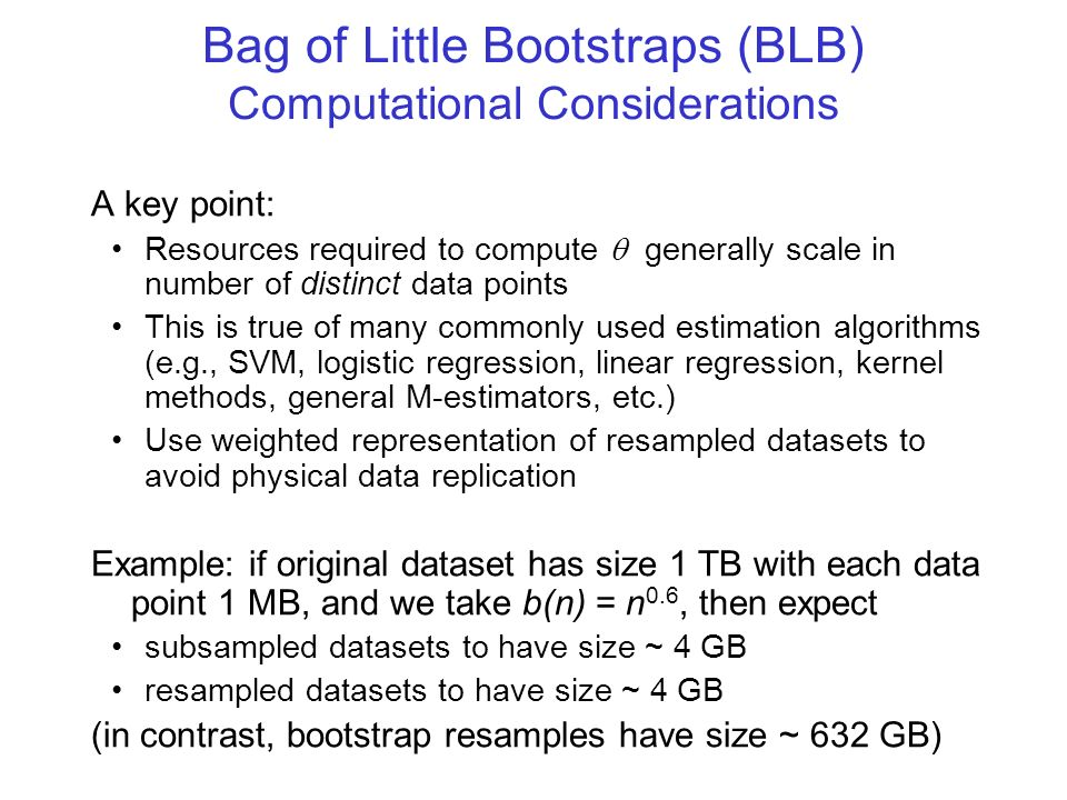 Bag of Little Bootstraps (BLB) Computational Considerations