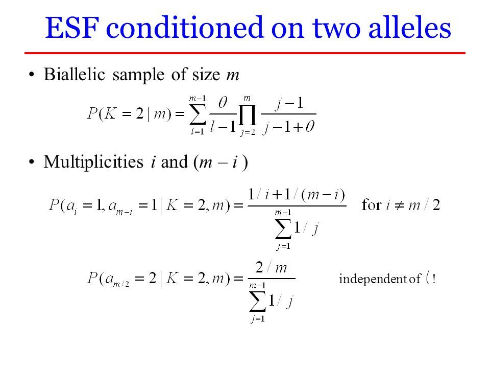 ESF conditioned on two alleles