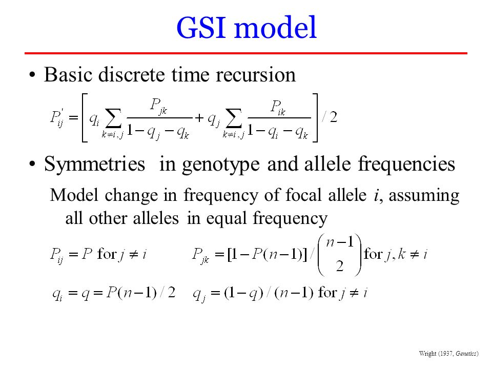 GSI model Basic discrete time recursion