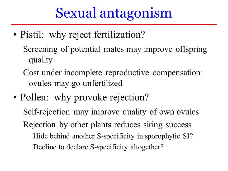Sexual antagonism Pistil: why reject fertilization