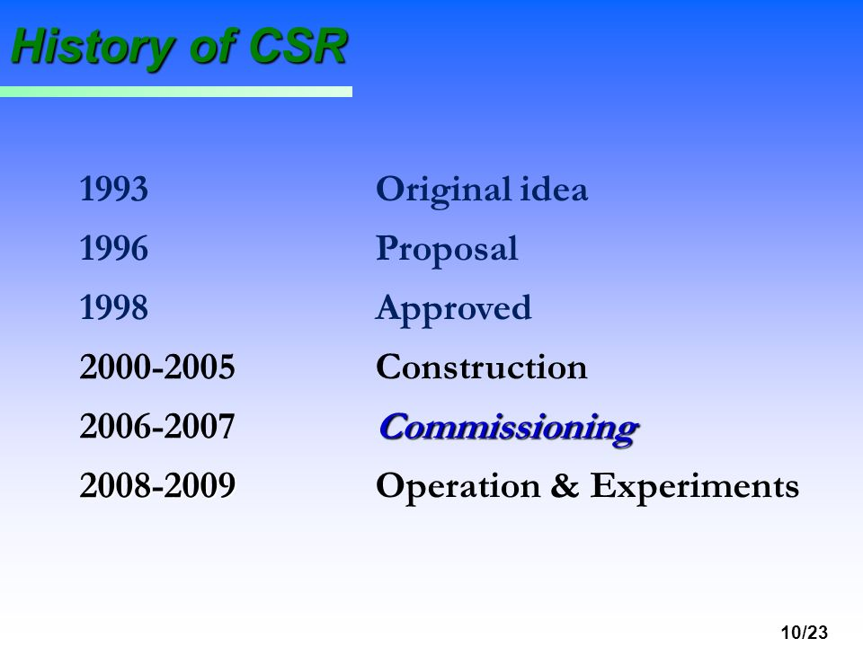 History of CSR 1993 Original idea 1996 Proposal 1998 Approved