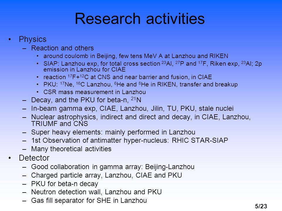 Research activities Physics Detector Reaction and others