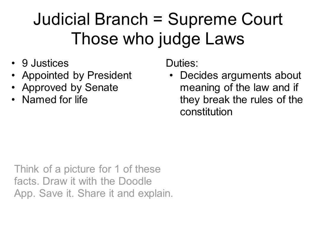 Judicial Branch = Supreme Court Those who judge Laws